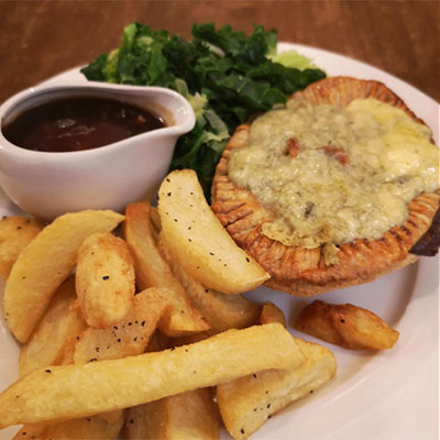 Pies with beef dripping fried chips